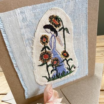 Sunflower angel embroidered greetings card