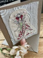 Quilting fairy embroidered greetings card