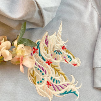 Embroidered unicorn children's hoodie