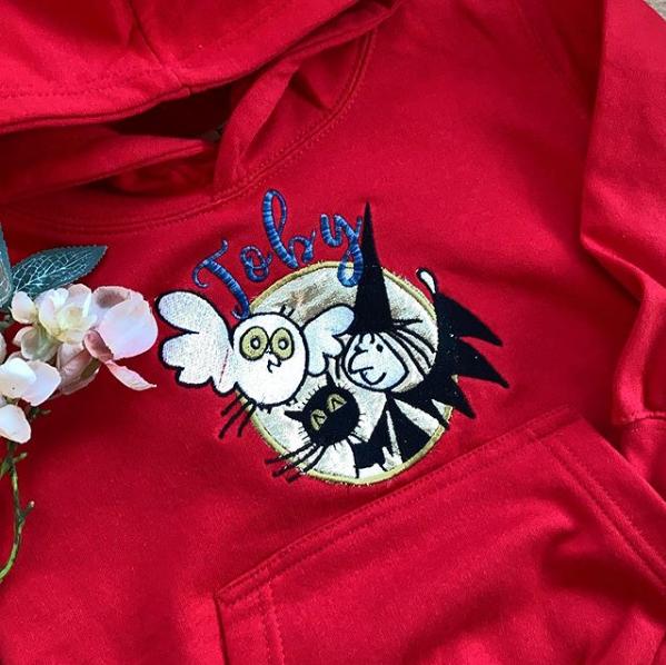 Embroidered Meg & Mog  children's hoodie