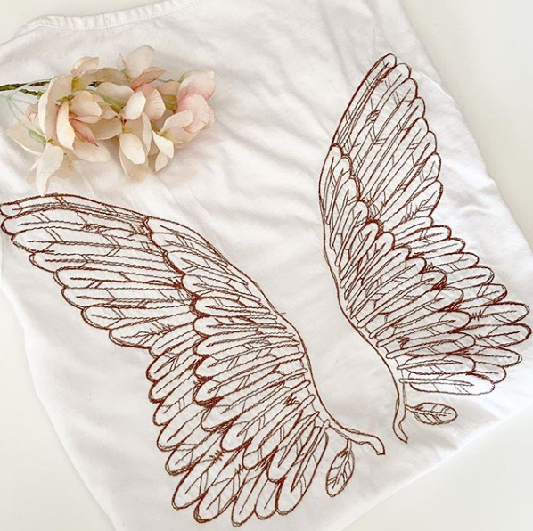 Gothic angel wings T shirt
