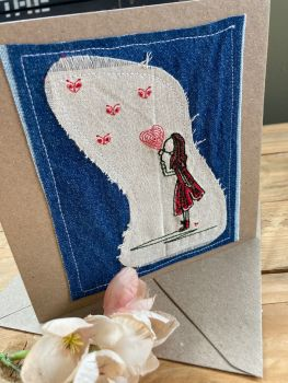 Kissing girl embroidered greetings card