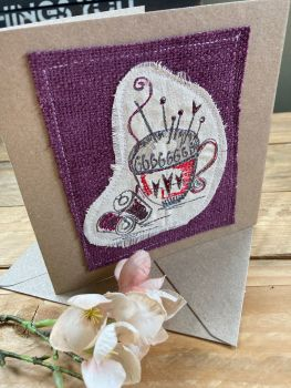 Pin cushion embroidered greetings card
