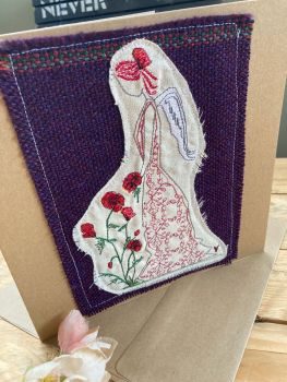 Poppy angel fairy embroidered greetings card