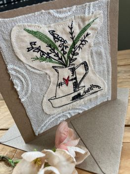 Country flower jug embroidered greetings card