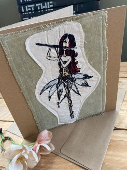 Musical Fairy embroidered greetings card