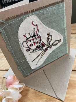 Pin cushion and scissors embroidered greetings card