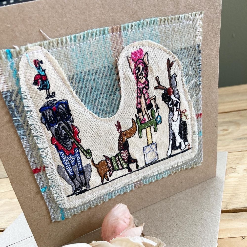 Christmas dog party embroidered greetings card