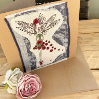 Custom made embroidered Flower Fairy greetings card