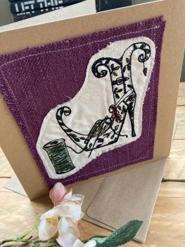 Custom made embroidered Shoe Fairy greetings card