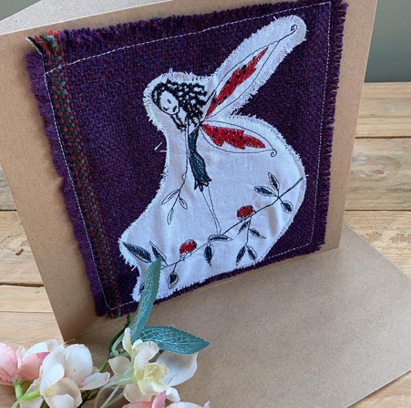 Custom made embroidered Ladybird Fairy greetings card