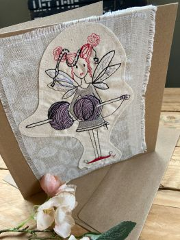 Knitting Fairy embroidered greetings card