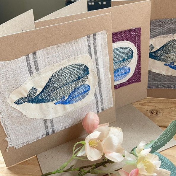 Mummy whale embroidered greetings card
