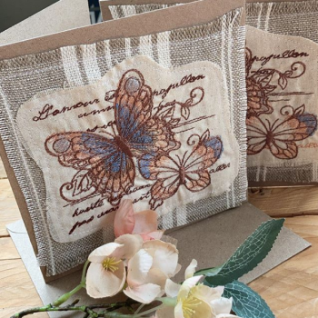 Vintage butterflies embroidered greetings card