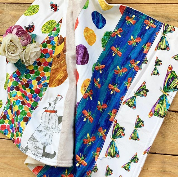 The very hungry caterpillar  travel baby blanket  with cuddle fur fleece