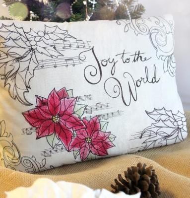 Embroidered poinsettia christmas music cushion