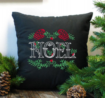 Embroidered Noel christmas  cushion