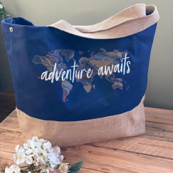 Adventure awaits embroidered canvas shopping bag