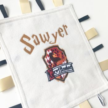 Wizarding crest  baby taggy blanket