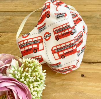 London bus print 100% cotton face mask with filter pocket