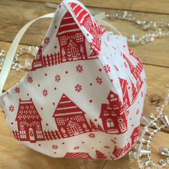 Christmas houses 100% cotton face mask with filter pocket
