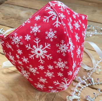 Christmas red snowflake  100% cotton face mask with filter pocket