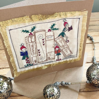 Embroidered Christmas Elf greetings card