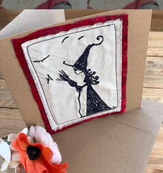 Embroidered Wicked Witch Oz greetings card