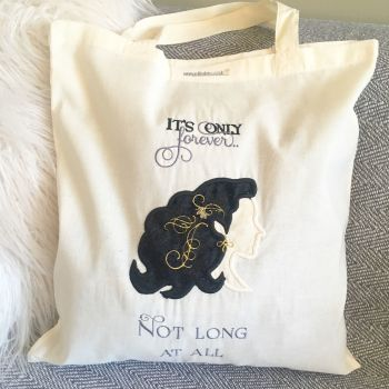"Labyrinth embroidered and appliqued  ""It's only forever"" cotton tote bag eco shopper"