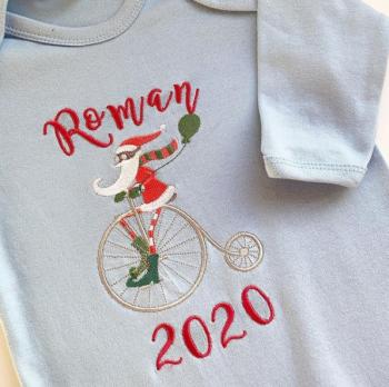Personalised Steampunk Santa Baby's first christmas sleepsuit