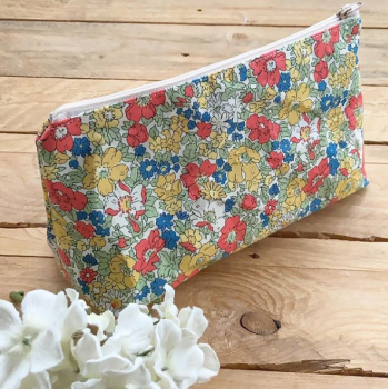Liberty print fabric zip bag