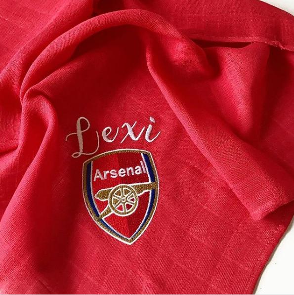 Personalised  Football logo Baby muslin square Arsenal