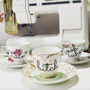 Vintage Bitch tea cup and saucer set