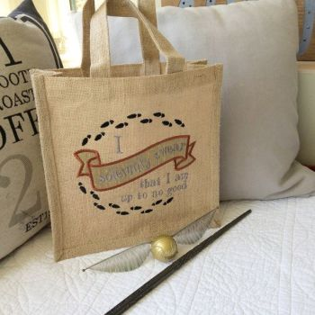 Magical embroidered jute tote bag