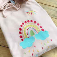 Embroidered rainbow hoodie