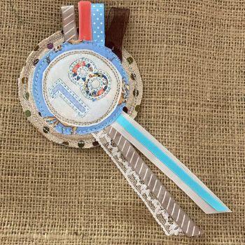 Handmade Number 18 birthday rosette badge