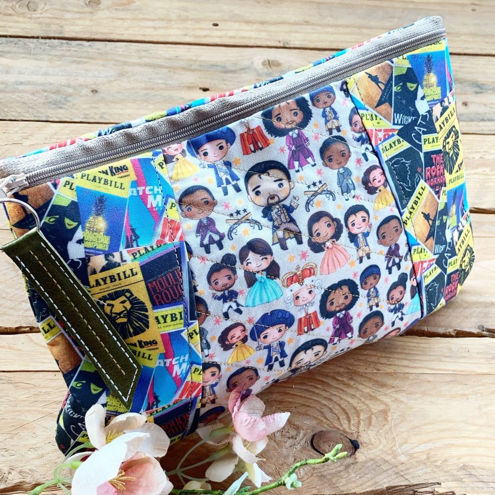 Hamilton and Playbill fabric zip bag clutch bag