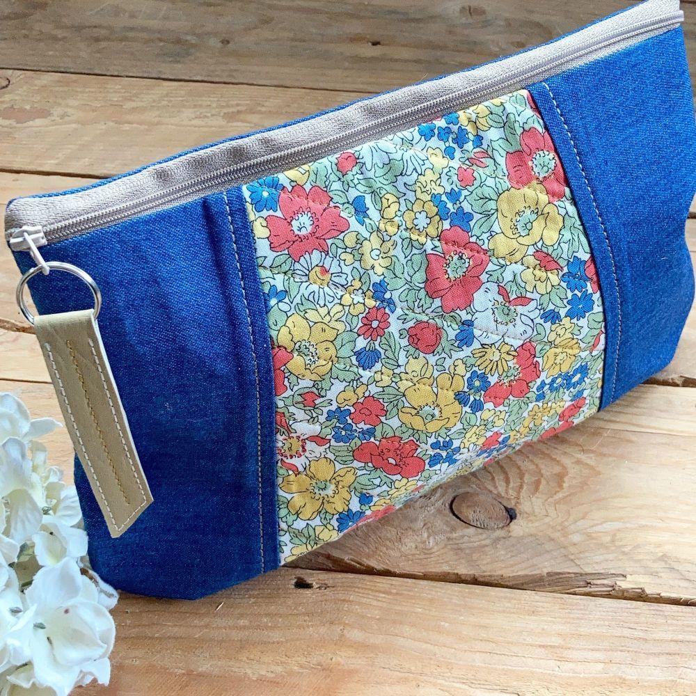 Liberty fabric zip bag clutch bag