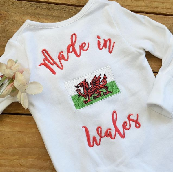 Made in Wales baby grow sleepsuit