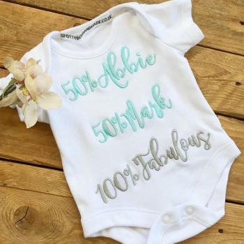 50% personalised  baby onesie vest