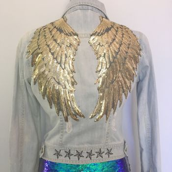 Embroidered Angel wing  denim jacket