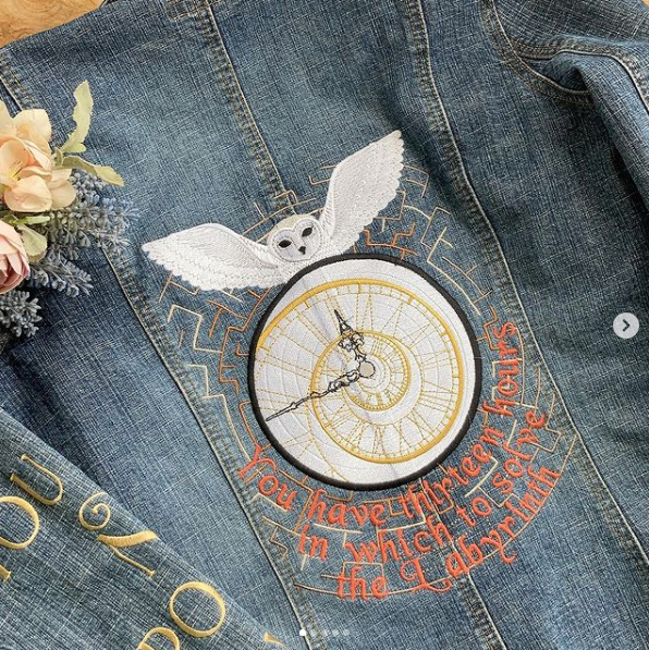 Embroidered Labyrinth denim jacket