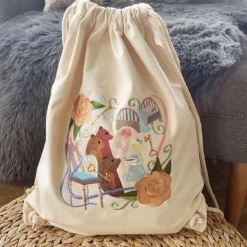Fully embroidered personalised Goldilocks drawstring book kit bag