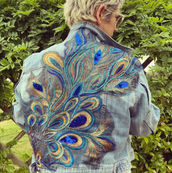Embroidered peacock feather denim jacket