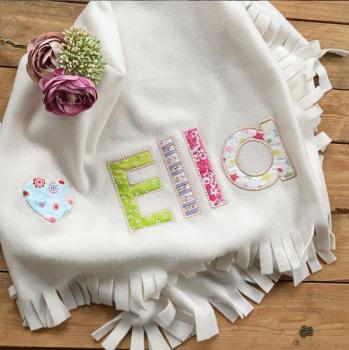 Personalised applique fleece baby cot blanket