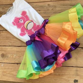 Care Bear Glitter Bear  tutu and onesie vest set or T shirt
