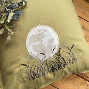 Woodland moon embroidered  cushion