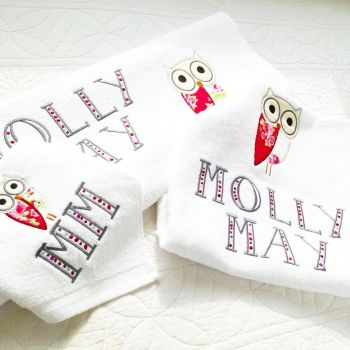Personalised applique owl new baby towel set