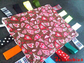 Brown hearts Taggy Blankets