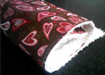 Retro Brown and Pink hearts burp cloth